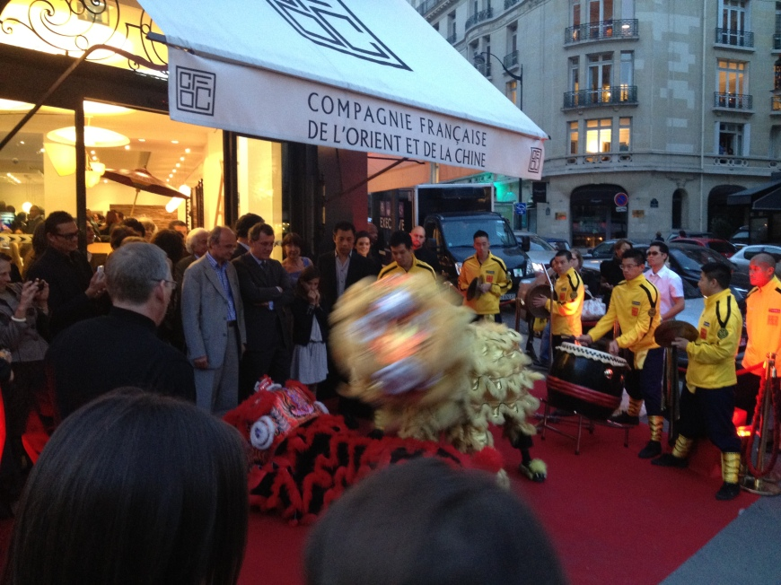 AFDDLC Performing the Chinese Dragon Dance at Compagnie Française de l'Orient et de la Chine
