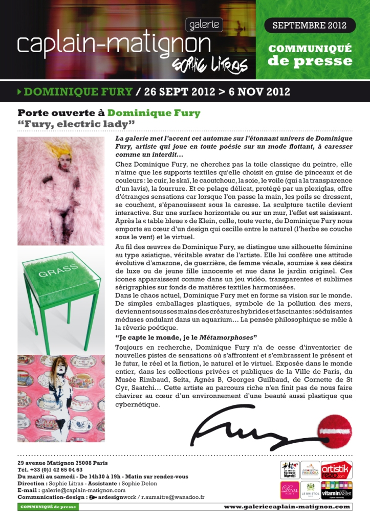 Dominique Fury Press Poster for Galerie Caplain-Matignon Paris art gallery